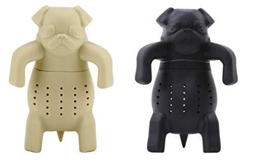 ArtiWare SET of 2 black & tan Dog Pug Shape Tea Infusers Loose Leaf Strainer Herbal & Fruit Tea Filter Diffuser Food Grade Silicone Add fun to tea time