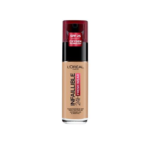 L'Oréal Paris Make up, Wasserfest und langanhaltend, Flüssige Foundation mit LSF 25, Infaillible 24H Fresh Wear Make-up, Nr. 110 Rose Vanilla, 30 ml