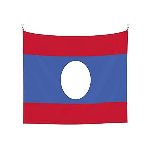Tapisserie Flagge von Laos, Wandbehang, Tarot-Boho, beliebt, mystisch, Trippy Yoga, Hippie, Wandteppiche für Wohnzimmer, Schlafzimmer, Wohnheim, Heimdekoration, schwarz & weiß Stranddecke