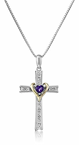 Sterling Silver and 14k Gold Amethyst Heart and Diamond-Accent Cross Pendant Necklace, 18'