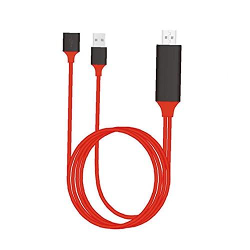 Cable HD, teléfono 3In1 al cable de espejo de TV, cable de adaptador Digital AV, compatible con Apple Android Red Mejore la eficiencia de la transmisión