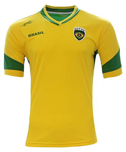 Brasil New Arza Soccer Jersey Yellow/Green 100% Polyester (Large)