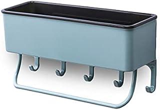 タオル掛け付き収納ラック 壁を痛めない粘着式シール キッチン 浴室ラック シャワーラック 洗面所ラック (グリーン)