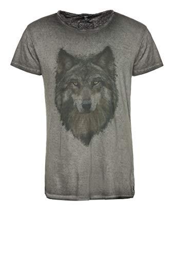 Tigha Herren T-Shirt Wolf Portrait Wren Schwarz XL