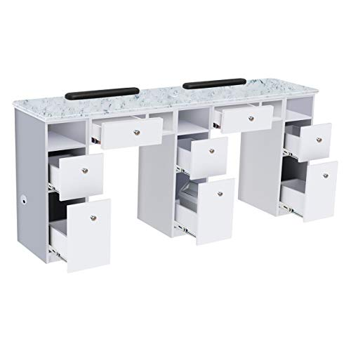 NOVA I Double Manicure Table, Nail Station for Beauty Salon Furniture & Equipment, Marble Top Acetone Resistant, Modern White/Gray