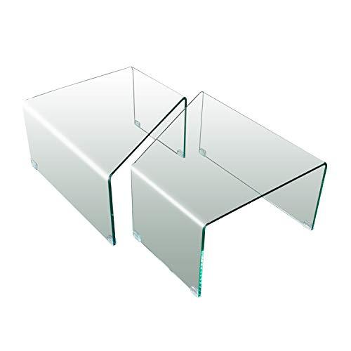 Arreditaly Coppia di Tavolini Bassi da Salotto Soggiorno Sala da Pranzo Triangolari in Vetro Temperato Curvato Design Moderno Elegante Luxury Z-52, 70 x 36 x 60 Cm Trasparente