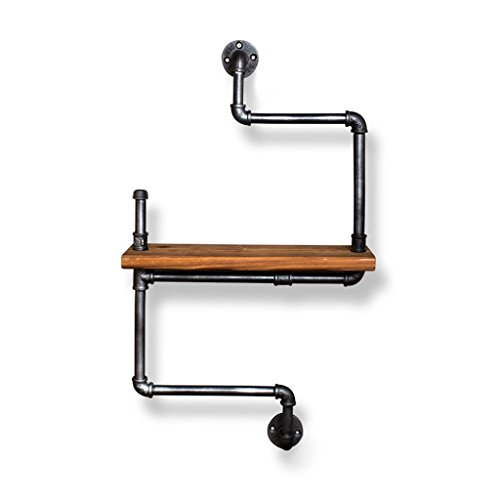 Uncle Sam LI- Supports de tuyau de séparation en bois de fer forgé, support multifonctionnel de stockage de mur de cru, / étagères / étagères flottantes / présentoir pour le magasin de café de salon Décorations murales