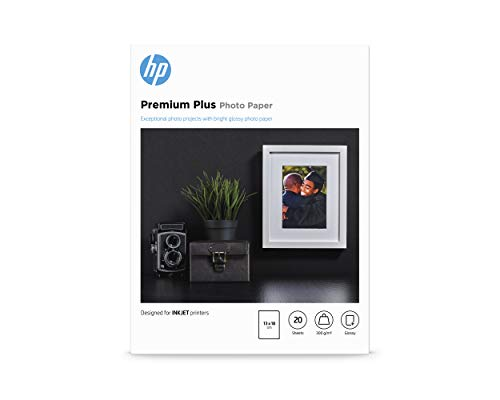 HP Premium Plus Photo Paper, CR676A, 20 hojas de papel fotográfico brillante avanzado, compatible con impresoras de...