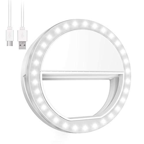 ORIA Selfie Licht, 36 LED Ringleuchte, Selfie Kamera Licht mit 3 Einstellbare Helligkeit, USB Wiederaufladbare Verstellbares Ringlicht für alle Handys, Tablets