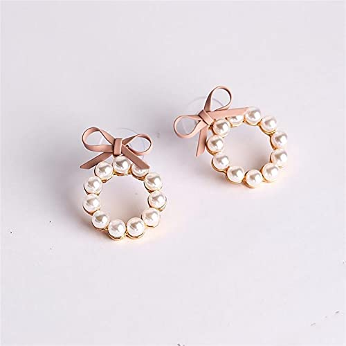 Mujeres Stud Pendientes Bowknot Bow Tie Pearl Ear Studs Jewelry Womens $158 (Metal Color : Pink)