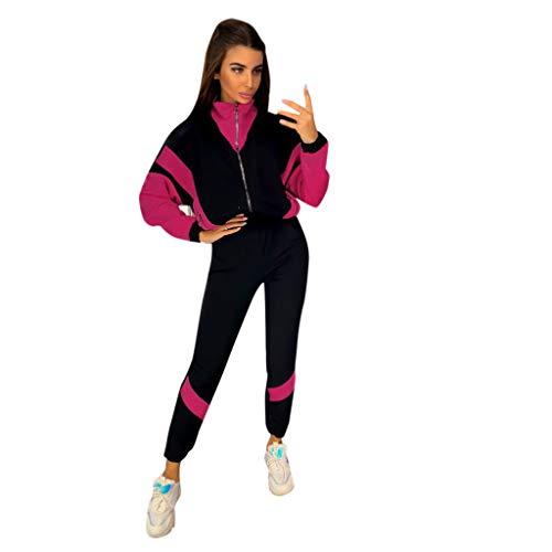 Sllowwa Damen Jogginganzug Trainingsanzug Sportanzug Sweatshirt mit farblich abgestimmter Naht Zweiteilig S-XL