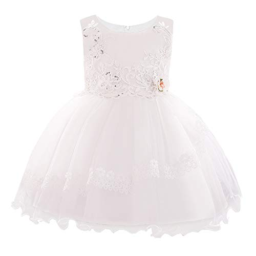 FONLAM Blumenmädchen Netzkleid Baby Mädchen Kleinkind Prinzessin Hochzeitsfeier Kleid Blumen-Spitzenkleid (Weiß, 3-6 Mois)