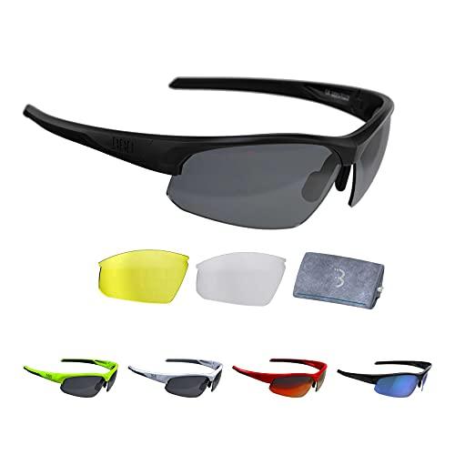 BBB Cycling Fahrradbrille Impress   Herren und Damen Sportbrille Sonnenbrille Radsport   mit Wechselgläsern   Polycarbonat   MTB Rennrad Urban   Matt Schwarz M   BSG-58