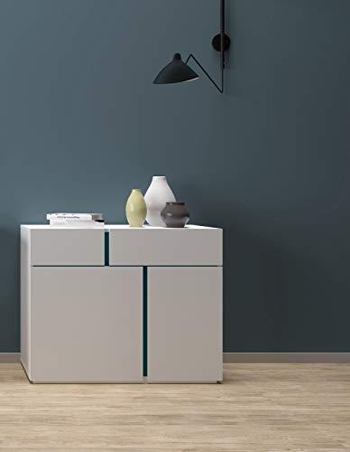 Mobilier Déco Elor - Aparador Decorativo con 2 Puertas y 2 cajones, Color Blanco y Azul