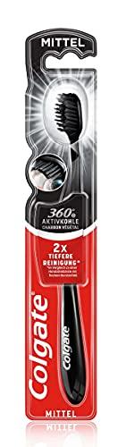 Colgate Zahnbürste 360° Aktivkohle mittel, 1 Stück - Handzahnbürste reinigt Zähne, Zunge, Wangen und Zahnfleisch