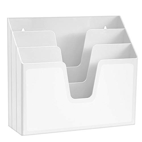 Acrimet Organizador Horizontal de 3 Compartimientos Para Escritorio o Pared (Color Blanco)