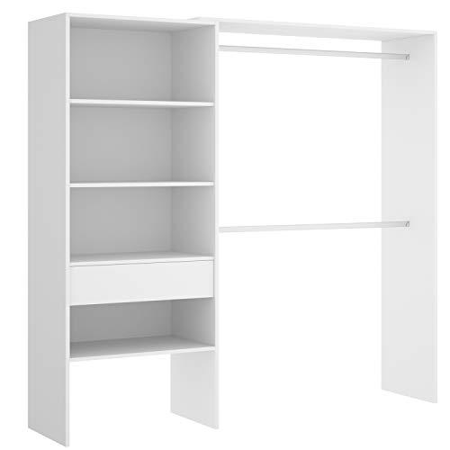 HABITMOBEL Vestidor almacenaje de Ropa Blanco con Tres baldas + Cajon, Medidas: Alto: 187 cm x Fondo: 40 cm x Ancho: 160 cm