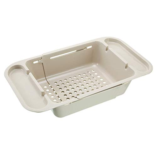 Jkhome Collapsible Over The Sink Kitchen Colander Strainer Foldable Drain Basket for Dish Fruit Vegetable (1, Beige)