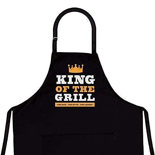 Tablier de cuisine humoristique pour homme - Taille adaptée à tous les modèles de cuisine de qualité supérieure - Accessoire idéal pour barbecue. King of #2