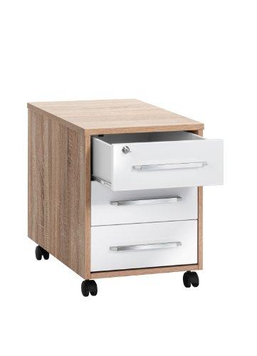 MAJA-Möbel 1716 2556 Rollcontainer, Sonoma-Eiche-Nachbildung - weiß Hochglanz, Abmessungen BxHxT: 43 x 59 x 65 cm
