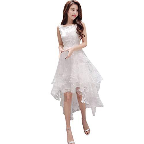 Vestido de Novia para Boda Blanco sin Mangas POLP Chaleco Largo Vestido Encaje Mujer Bodycon Dress Cintura Vestido de Fiesta Talla Grande Vestido de Noche Cuello V Mujer S-XL (3Blanco, M)