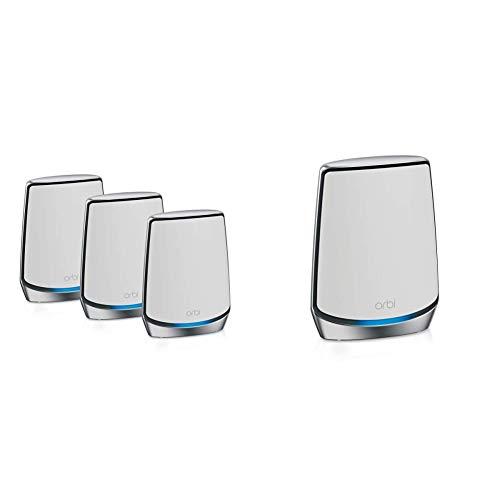 NETGEAR Orbi Sistema WiFi 6 Mesh RBK853, Router y 2 satélites + 2 x Orbi RBS850 Repetidor WiFi Mesh WiFi 6 ax6000 tribanda Adicional para Router orbi