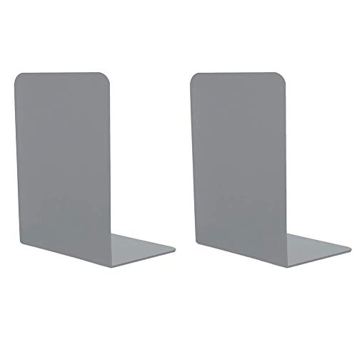 1 Pares Sujetalibros de Metal, 135 x 98 x 205mm Sujeta Libros Estanteria para La Biblioteca del Dormitorio Material Escolar Artículos de Papelería - Gris