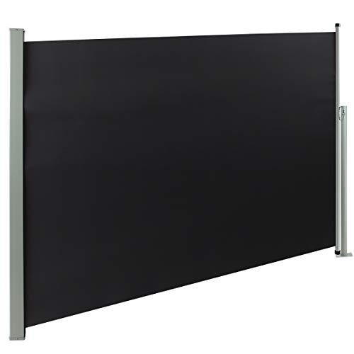 Display4top Seitenmarkise, Ausziehbare Seitenschutz für Balkon, Terrasse & Garten,Sonnenschutz und Windschutz,Grau (160 x 350 cm)
