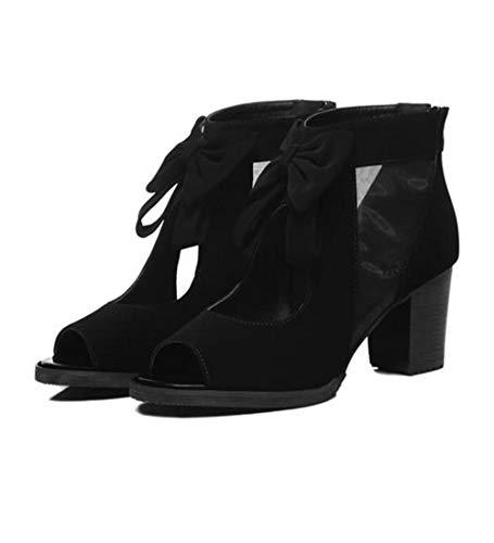 ZY&FC mesh sandalen vrouwen dikke hak zomer uitsparing korte laarzen
