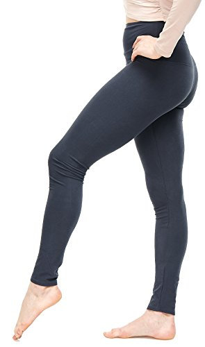 LMB Women's Extra Soft Leggings with High Yoga Waist Pants 40+ Colors Plus Sizes (One Size, Charcoal - Extra Wide...