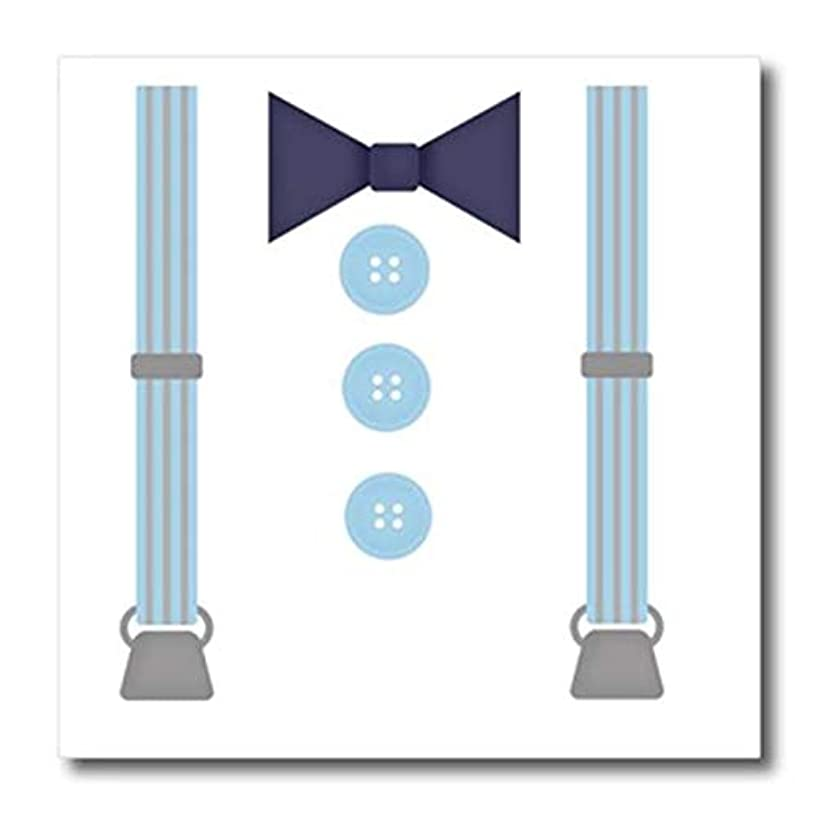 3D Rose Cute Hipster Suspenders and Bow Tie in Blue Iron On Heat Transfer, 6 x 6, White