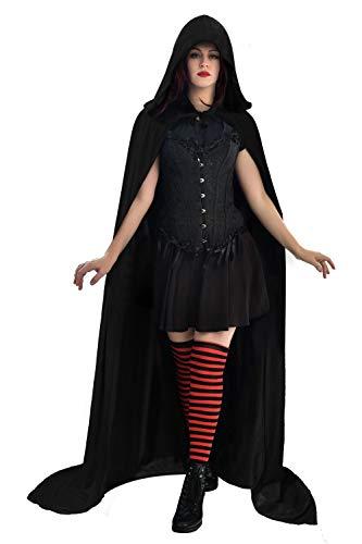 Funhoo Full Length Deluxe Velvet Cloak Cape Capa con Capucha Long Vimpire Cape para Navidad Halloween Disfraces de Cosplay Atrezzo Adulto 165cm (Negro)