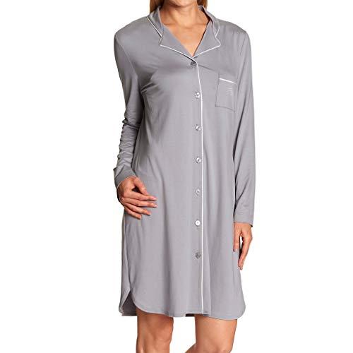 Feraud - Damen Nachthemd mit durchgehenden Knopfleiste - Langarm - 90 cm lang (Anthrazit, 50)