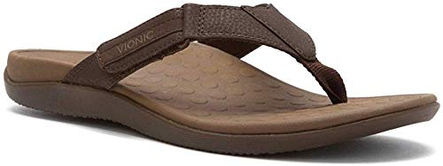 Vionic with Orthaheel Technology Men's Ryder Thong Sandals, Chocolate/Tan, 12 M US