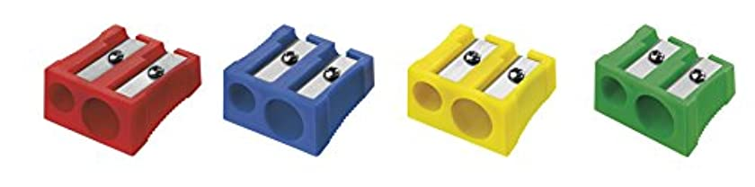 Westcott 14208?I Double Pencil Sharpener, Plastic 4?Assorted Colours (Pack of 20)