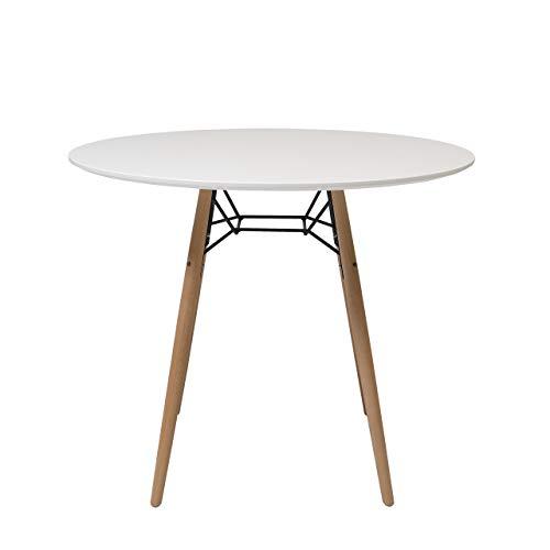 Homely - Mesa de Cocina o Comedor Redonda CLIDE sobre Lacado en Blanco y pie Central Tower 90 cm - Redonda 90 cm.