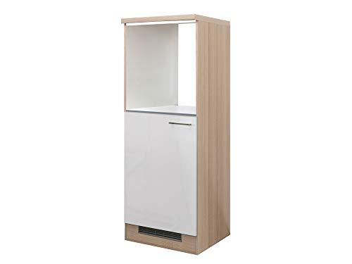Demi-Geräteumbauschrank Creme Weiß Akazie 60 cm für Backofen + Kühlschrank Ancona