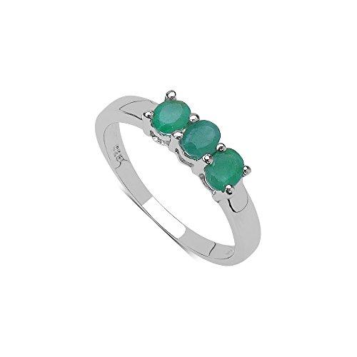Silvancé R681E - Anello da donna in argento 925 rodiato, con vera gemma: smeraldo ca. 0,57 ct e Argento, 61 (19.4), cod. R681E_SSR_19