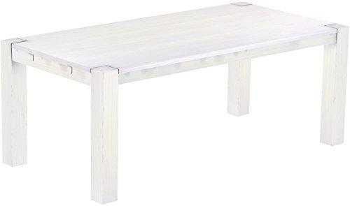 Brasilmöbel Esstisch Rio Kanto 200x100x78 cm Pinie Weiss - Holz Tisch Pinie Esszimmertisch Küchentisch - vorgerichtet für Ansteckplatten - ausziehbar