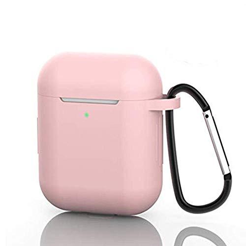 Funda para AirPods de silicona, compatible con Apple AirPods 1/2, resistente a los golpes, con mosquetón, correa antipérdida, tapón antipolvo, indicador LED frontal visible (rosa claro)