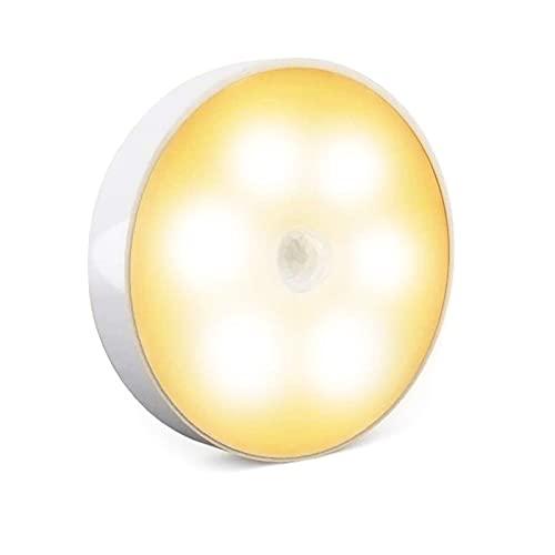 Luz de sensor de movimiento inalámbrico, luz nocturna LED recargable, luces de gabinete, luces encendidas, luces de disco de adsorción magnética con adhesivo 3M para cocina, pasillo, escalera (1 Pack)