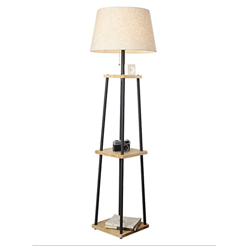 Lámpara de pie de madera con estantes, 3 niveles, lámpara de pie, lámpara de lectura moderna, para dormitorio, salón, oficina, decoración de casa, minimalista europeo (sin bombilla), color negro