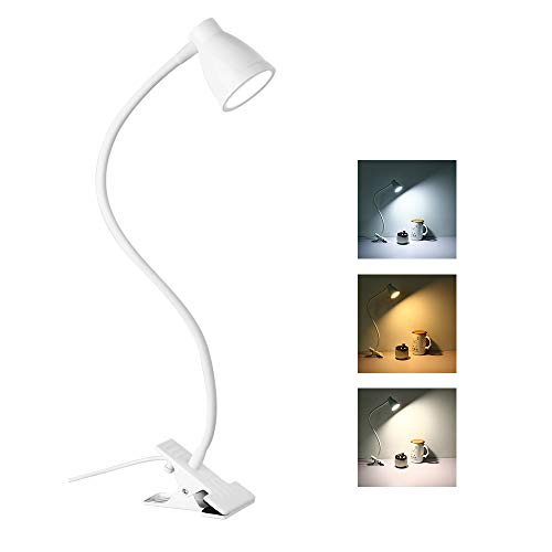 Leselampe Klemmleuchte, 3 Lichtmodi 5 dimmbarer Helligkeit Klemmlampe Bett Klemme, Schreibtischlampe Tischlampe, Stromversorgung über USB-Anschluss (weiß)