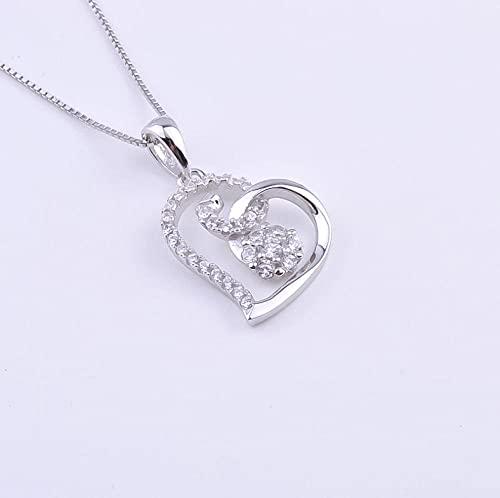 Gbrand Collar de corazón de Flor de Clavo de Cristal de Plata de Ley 925 para Mujer, Colgantes de corazón con aro doblado, joyería