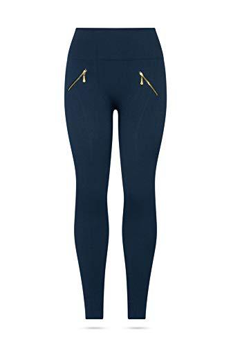 Kendindza Damen Thermo-Leggings gefüttert mit Innen-Fleece Basic Blickdicht mit Zipper (Blau, L/XL)