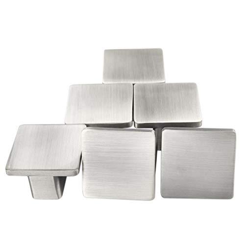 Conjunto de 6 pomos modernos plateados metálicos con acabado satinado, pomos para muebles, puertas y armarios, cajones, tiradores y botones cuadrados