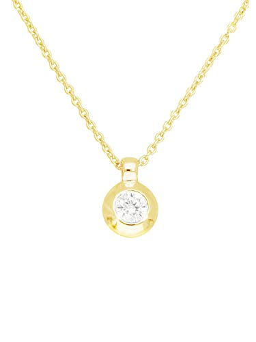 Halskette Mit Anhänger Gelbgold 333 Gold (8 Karat) Diamant 0,06ct. 42cm Solitär 4mm x 6mm Goldkette Damenkette Brillantcollier Poppy L-07837-G301-DIA03S/H/S2-AK7-F42cm