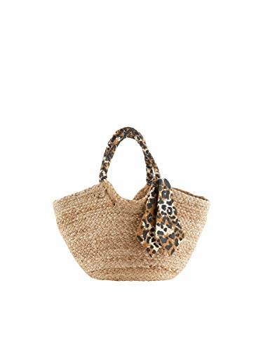 PIECES Womens PCMILO STRAW BAG Tasche, Nature Detail:LEO STRAP, ONE SIZE