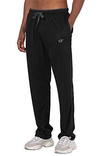 NEIKU Men's Lightweight Sweatpants Loose Fit Open Bottom Mesh Athletic Pants with Zipper Pockets Black/Grey-XL