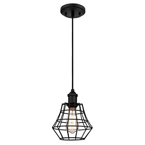 Westinghouse Lighting Lámpara de Techo Colgante de 1 Luz E27, Negro Mate,...